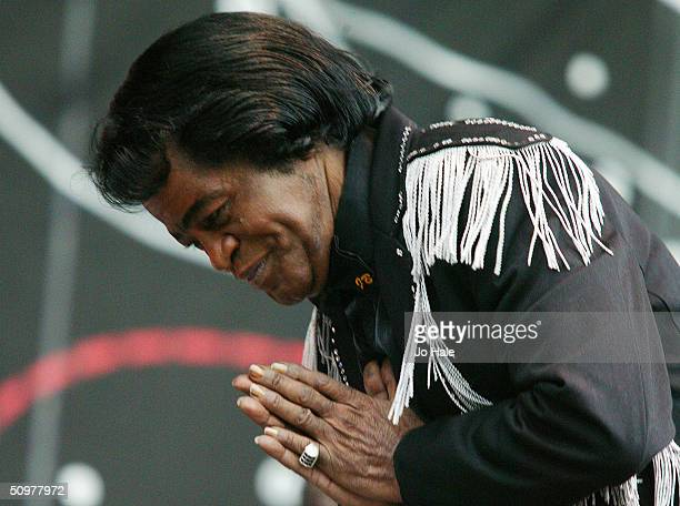 James Brown supports the show for the Red Hot Chilli Peppers performance on stage during the first London date of their tour at Hyde Park on June 19...