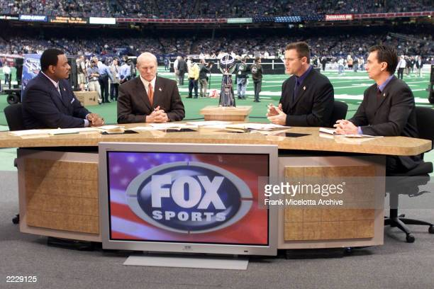 James Brown Terry Bradshaw Howie Long and Cris Collinsworth on the Fox Pre Game Show on Super Bowl XXXVI at the Louisiana Superdome in New Orleans LA...