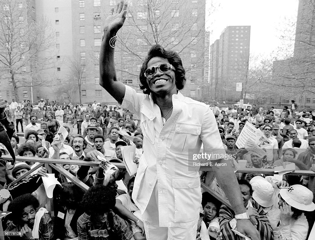 James Brown visits Harlem in New York to meet fans on May 03 1979