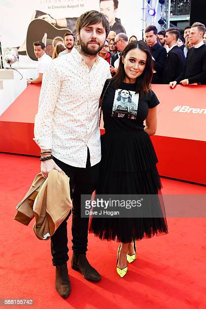 James Buckley and Clair Meek arrive for the World premiere of David Brent Life on the Road at Odeon Leicester Square on August 10 2016 in London...