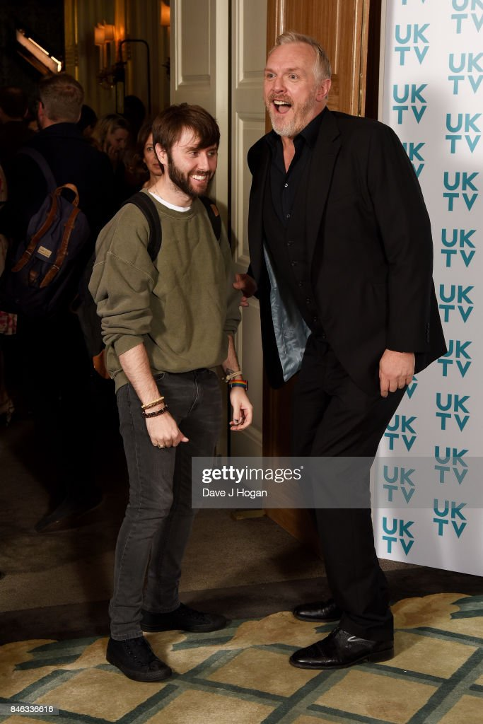James Buckley (L) and Greg Davies attend the UKTV Live 2017 photocall at Claridges Hotel on September 13, 2017 in London, England. Broadcaster announces it's programs for the forthcoming season.