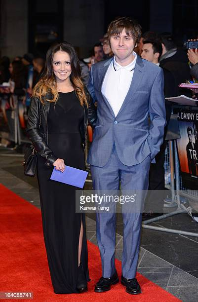 James Buckley with wife Clair Meek attends the UK Film Premiere of 'Trance' at Odeon West End on March 19 2013 in London England