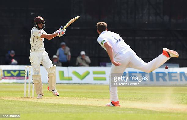 James Burke of Surrey in action during the LV County Championship match between Derbyshire and Surrey at The County Ground on June 23 2015 in Derby...