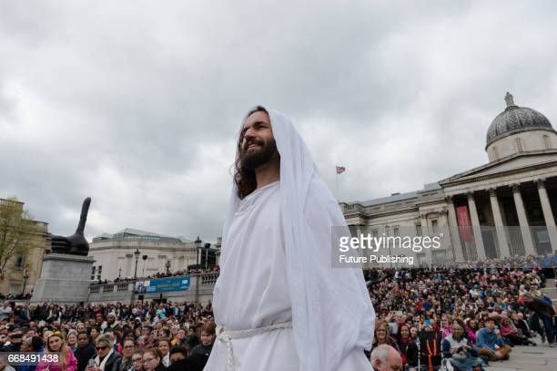 James Burke-Dunsmore as Jesus risen from the dead during the annual play of The Passion of Jesus by Wintershall on The occasion of Good Friday on...