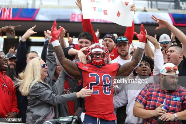 James Butler of the Houston Roughnecks celebrates what he thought was a touchdown against the Seattle Dragons at TDECU Stadium on March 7 2020 in...