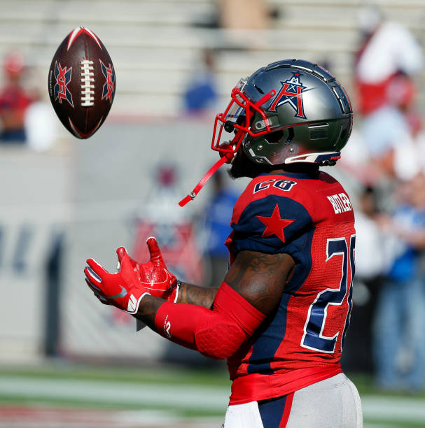 James Butler of the Houston Roughnecks warms up before playing the LA Wildcats at TDECU Stadium on February 08 2020 in Houston Texas