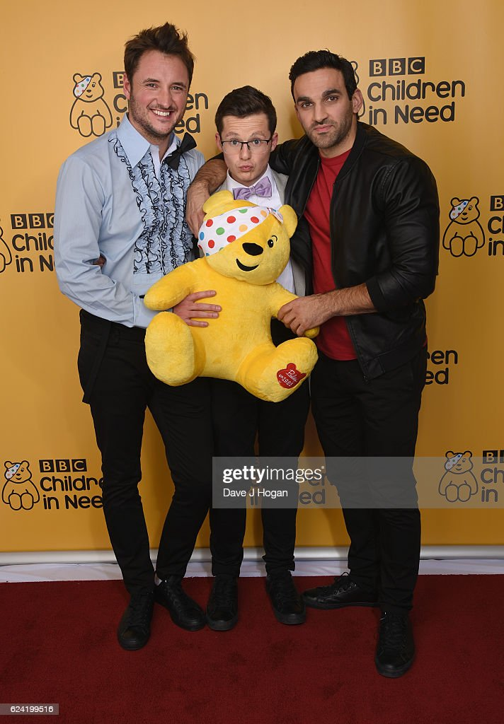 James Bye, Harry Reid, Davood Ghadami show support for BBC Children in Need at Elstree on November 18, 2016 in Borehamwood, United Kingdom.
