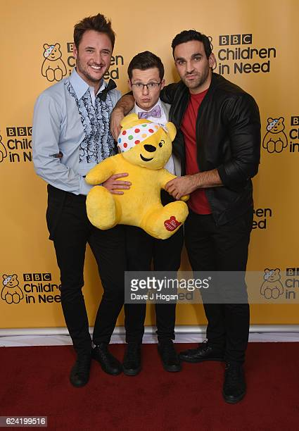 James Bye Harry Reid Davood Ghadami show support for BBC Children in Need at Elstree on November 18 2016 in Borehamwood United Kingdom