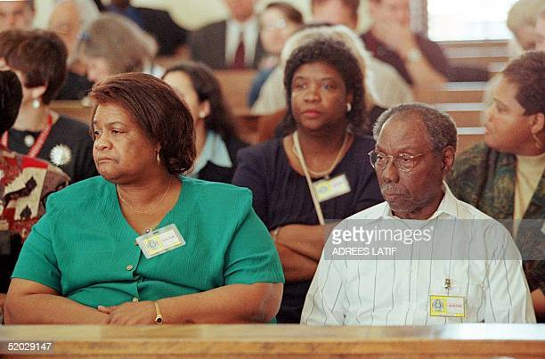 James Byrd Sr sits in the front row of the Jasper County Courthouse for day one of the capital murder trial of Bill King in Jasper Texas 16 February...