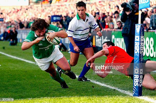 James Byrne of Ireland dives over to score his second try during the RBS 2004 Six Nations match between Ireland and Wales at Lansdowne Road on...