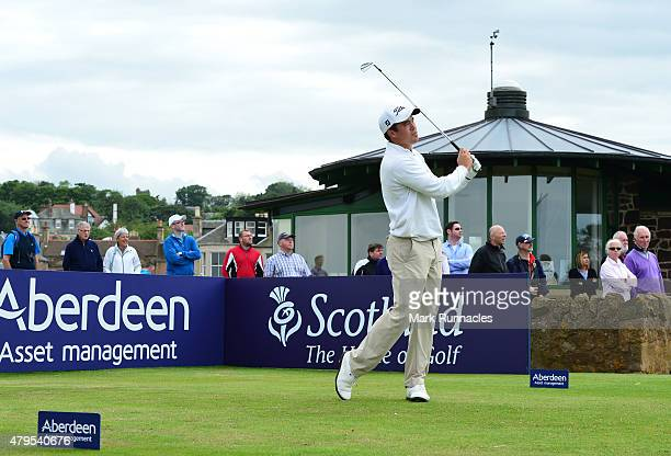 James Byrne of of Scotland in action on the first tee during the second day of the AAM Scottish Open Qualifier at North Berwick Golf Club on July 5...