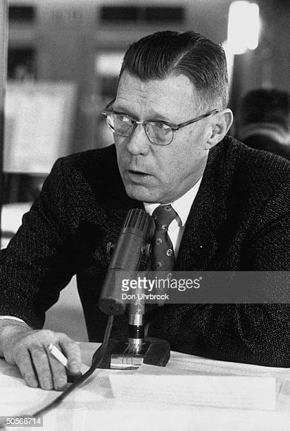 James C Hagerty reading nuclear test ban of Dwight D Eisenhower