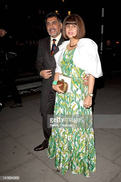 James Caan and Aisha Caan attend The Faberge Big Egg Hunt grand auction at Royal Courts of Justice Strand on March 20 2012 in London England