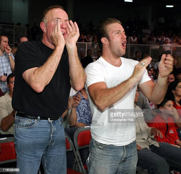 James Caan and Scott Caan during Fernando Vargas vs Fitz Vanderpool Ringside at The Grand Olympic Auditorium in Los Angeles California United States