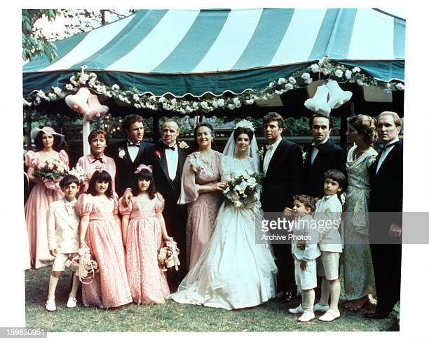 James Caan Marlon Brando and the rest of the wedding party in a scene from the film 'The Godfather' 1972