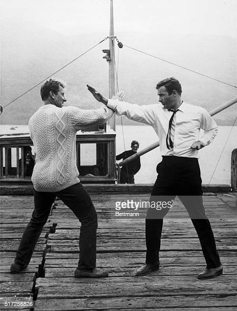 James Caan staring in Submarine X1 practices a fight routine with stuntman Jerry Crampton