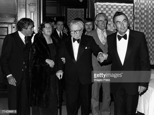James Cagney and Marge Zimmerman attend the 'Ragtime' Premiere AfterParty at Luchow's Restaurant circa 1981 in New York City