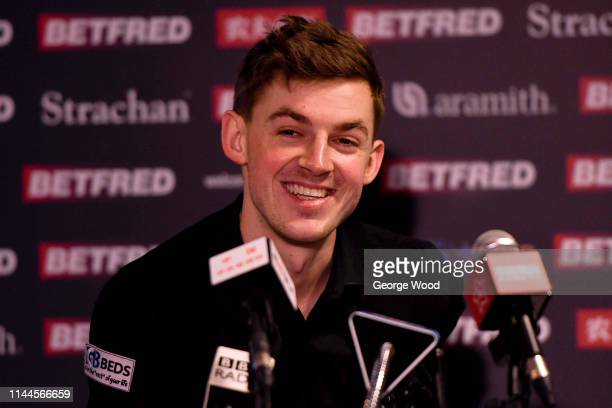 James Cahill speaks to the media following his win against Ronnie O'Sullivan in the opening round of the world snooker championship at Crucible...