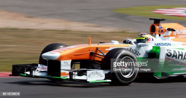 James Calado in the Force India during day two of the Formula One young driver tests at Silverstone Northampton