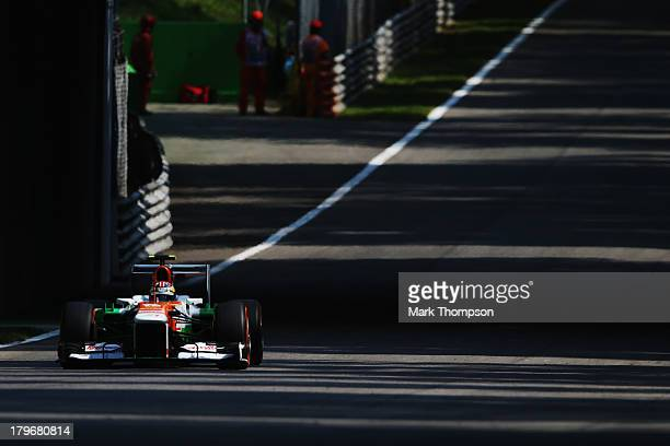 James Calado of Great Britain and Force India drives during practice for the Italian Formula One Grand Prix at Autodromo di Monza on September 6 2013...