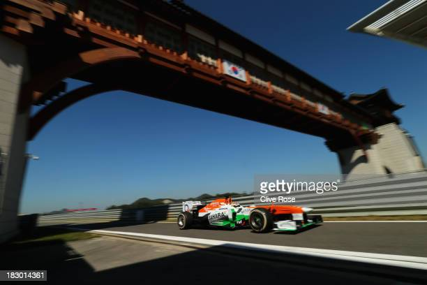 James Calado of Great Britain and Force India drives during practice for the Korean Formula One Grand Prix at Korea International Circuit on October...