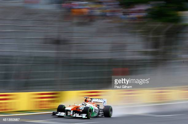 James Calado of Great Britain and Force India drives during practice for the Brazilian Formula One Grand Prix at Autodromo Jose Carlos Pace on...