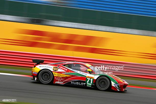 James Calado of Great Britain drives the AF Corse Ferrari F458 Italia during practice for the FIA World Endurance Championship 6 Hours of Silverstone...