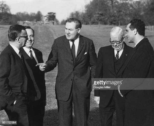 James Callaghan the Chancellor of the Exchequer in the grounds of Chequers in Buckinghamshire with the Finance Ministers of various other countries...