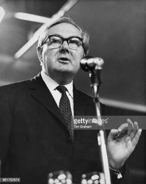 James Callaghan , the Home Secretary, speaks at the 68th annual Labour Party Conference in Brighton, UK, 29th September 1969.
