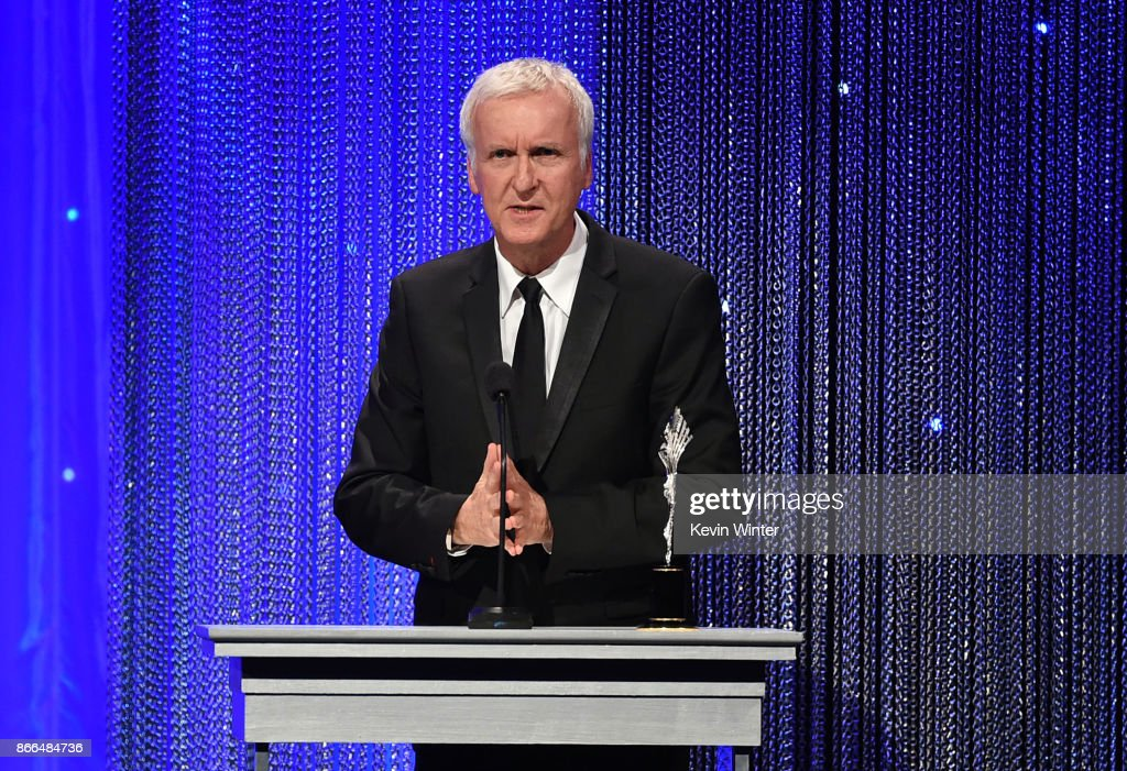 James Cameron accepts the Prince Rainier III Award onstage during the 2017 Princess Grace Awards Gala at The Beverly Hilton Hotel on October 25, 2017 in Beverly Hills, California.