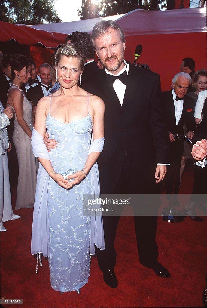 James Cameron and Linda Hamilton at the Shrine Auditorium in Los Angeles, California