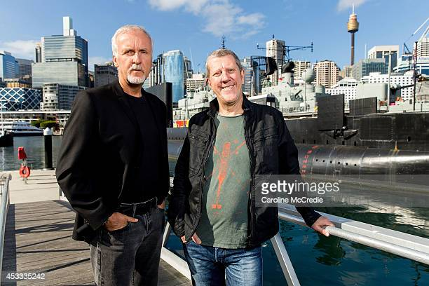 James Cameron and Ray Quint pose for the Deepsea Challenge 3D official launch at the Australian National Maritime Museum on August 8 2014 in Sydney...