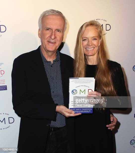James Cameron and Suzy Amis attend the book launch party for Suzy Amis for her new book OMD hosted by James Cameron at Crossroads Kitchen on October...