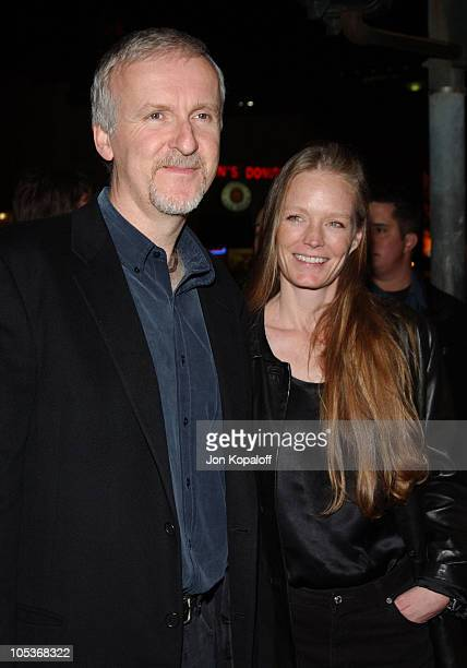 James Cameron and Suzy Amis during Hellboy Los Angeles Premiere at Mann Village Theater in Westwood California United States