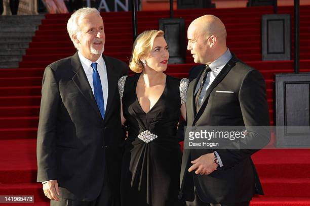 James Cameron Kate Winslet and Billy Zane attend the world premiere of Titanic 3D at The Royal Albert Hall on March 27 2012 in London England