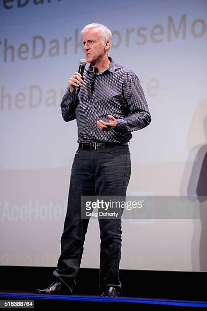 James Cameron on stage discussing the film prior to the screening at The Theatre at Ace Hotel on March 30 2016 in Los Angeles California
