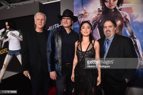 James Cameron Robert Rodriguez Rosa Salazar and Jon Landau attend the premiere of 20th Century Fox's Alita Battle Angel at Westwood Regency Theater...
