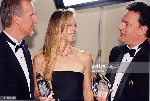 James Cameron Suzy Amis and Tom Hanks during The 25th Annual People's Choice Awards at Pasadena Civic Auditorium in Pasadena California United States