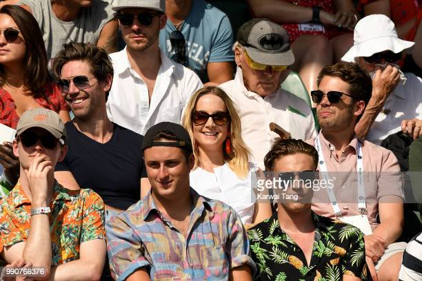 James Cannon and Joanne Froggatt attend day two of the Wimbledon Tennis Championships at the All England Lawn Tennis and Croquet Club on July 3 2018...