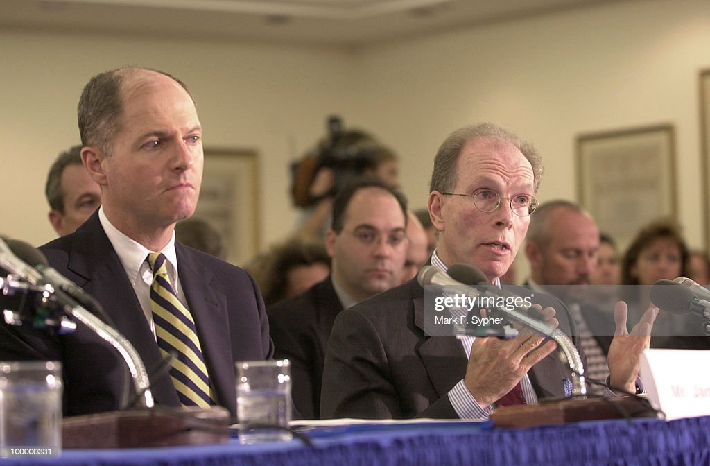 James Caruso (FBI), left, and Dr. Jeffery Koplan (CDC), are forced to defend themselves in a Health and Human Services and Education Subcommittee hearing on anthrax and bioterrorism.