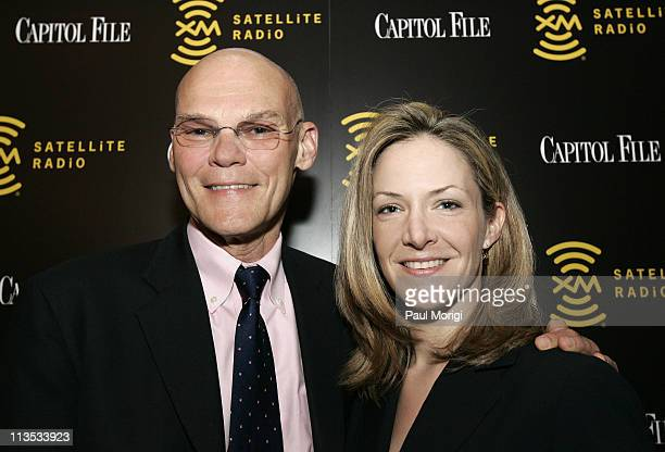 James Carville and Capitol File Magazine Publisher Paige Bishop at the launch of XM Radio's new sport show 60/20 hosted by Capitol File Magazine and...