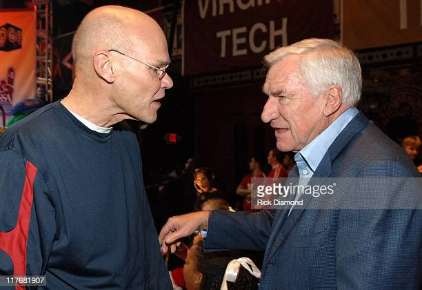 James Carville and Coach Dean Smith during Jefferson Pilot Presents The Southern Sports Awards at TABERNACLE in Atlanta Georgia United States
