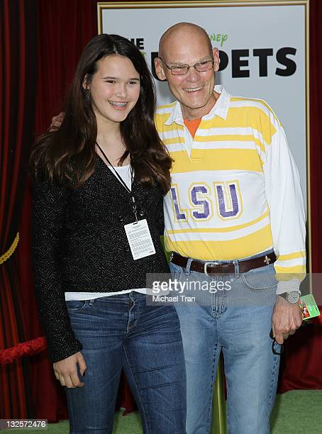 James Carville and daughter arrive at the Los Angeles premiere of The Muppets held at the El Capitan Theatre on November 12 2011 in Hollywood...