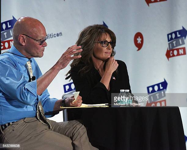 James Carvillel and former Governor Sarah Palin speak during their appearance at Politicon at Pasadena Convention Center on June 26 2016 in Pasadena...
