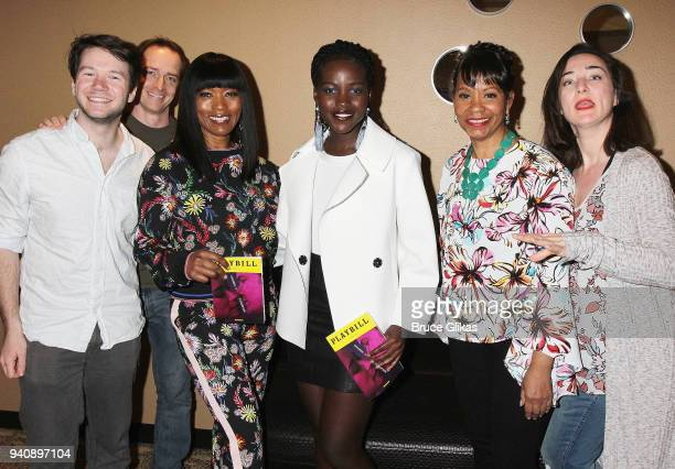 James Caverly Matthew Jaeger Angela Bassett Lupita Nyong'o Gayle Samuels and Tami Lee Santimyer pose backstage at the new revival of the play...