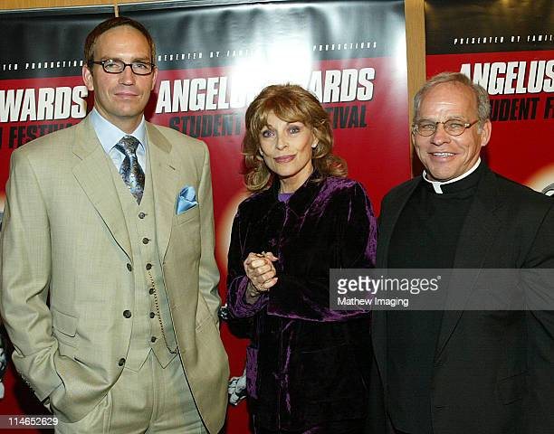 James Caviezel, Mrs. Veronique Peck, Gregory Peck's widow and Father Wilfred Raymond at the 8th Annual Angelus Awards Student Film Festival on...