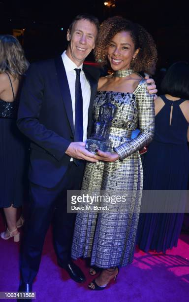 James Chalmers and Sophie Okonedo attend The 64th Evening Standard Theatre Awards after party at the Theatre Royal Drury Lane on November 18 2018 in...