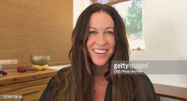James chats with Alanis Morissette from his garage on THE LATE LATE SHOW WITH JAMES CORDEN scheduled to air Thursday June 4 2020 on the CBS...