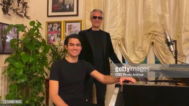 James chats with Andrea Bocelli and his son Matteo from his garage on THE LATE LATE SHOW WITH JAMES CORDEN scheduled to air Mondayy April 20th 2020...