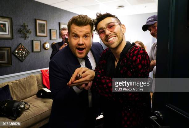 James chats with musical guest MAX in the green room at 'The Late Late Show with James Corden' Tuesday February 6 2018 On The CBS Television Network